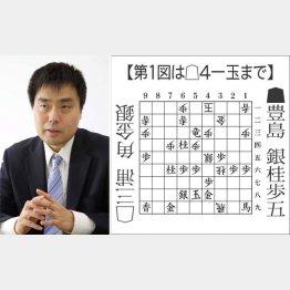 三浦弘行九段(左)と第1図(C)日刊ゲンダイ