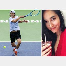 バリバ・オープンでプレーするダニエル太郎(左・共同通信社)とモデルで恋人の立野リカ(本人の公式インスタグラムから)