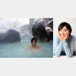 高田彩朱さんと岩手・松川温泉(提供写真)