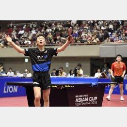 卓球アジア杯で世界ランク1位の樊振東(奥)に勝利した張本(C)共同通信社