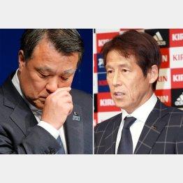 会見で視線を落とす田嶋会長(左)新監督に就任する西野朗氏(C)日刊ゲンダイ