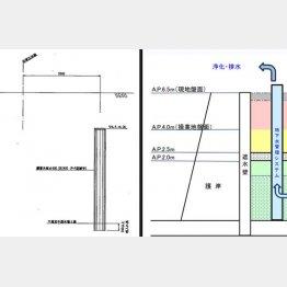 本紙入手の図面(左)では遮水壁が地表に達していないが、都公表の資料(右)では達している/(C)日刊ゲンダイ