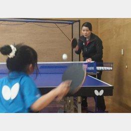 張本卓球場でジュニアの生徒を指導する母の凌さん(提供写真)