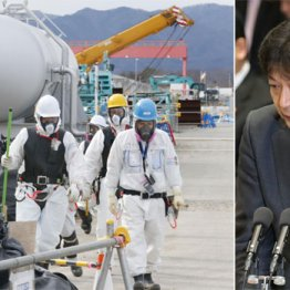 廃炉作業には国から多額の交付金(右は東電小早川社長)