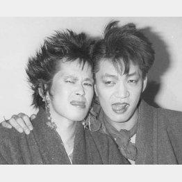 資生堂キャンペーンソング会見(忌野清志郎=左と坂本龍一、1982年2月)/(C)共同通信社
