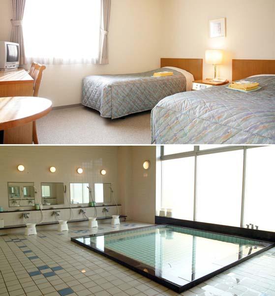足柄SA「レストイン時之栖」 室内はゆったり、お風呂は広々(提供写真)