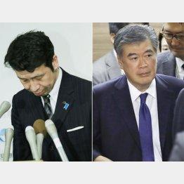 謝罪する米山知事(左)と福田事務次官/(C)共同通信社