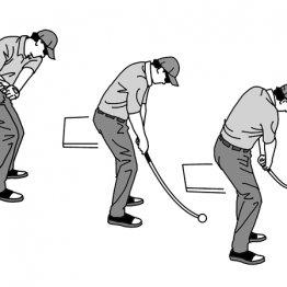 ダウンスイングでは右前腕とシャフトが重なるのが世界水準