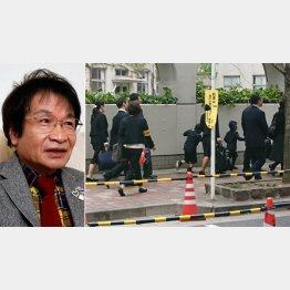 尾木直樹氏(左)と泰明小学校(C)日刊ゲンダイ