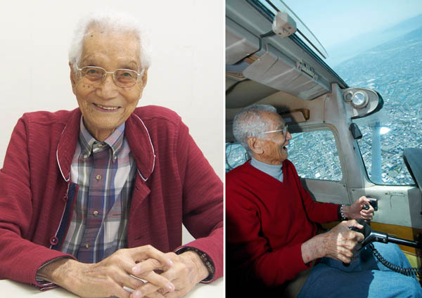 """""""世界最高齢""""95歳のパイロット 高橋淳さん(提供写真)"""