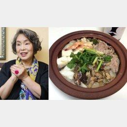 左時枝さん(左)と豪快な酒鍋(C)日刊ゲンダイ