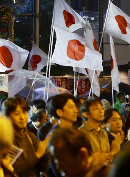 安倍首相の街頭演説は日の丸が多数(C)日刊ゲンダイ