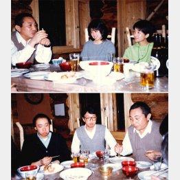 塾生と食卓を囲む倉本氏。上段写真の中央が吉田さん、下段写真の中央が田子さん(いずれもF.C.S.提供=86年撮影)