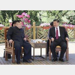 まるで親戚同士の習近平国家主席と金正恩委員長(C)共同通信社