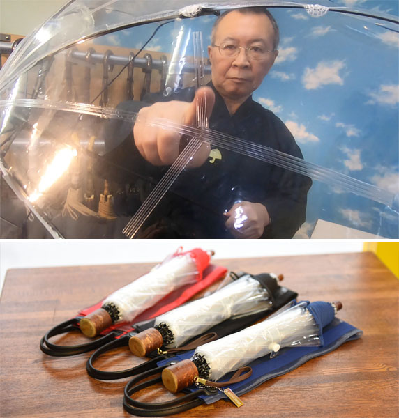 折りたたみ線を示す須藤社長(上)カラーは赤・黒・紺の3色/(提供写真)