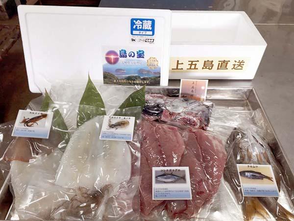左からスルメイカ、アオリイカ、水イカ、コシナガマグロ、クロムツの4種で5500円(提供写真)