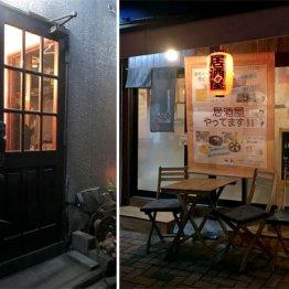 二重扉で雰囲気アリのスナック「P」(左)と居酒屋なのにドでかいソフトクリームが名物の「三座布」