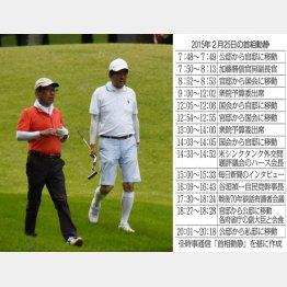 ゴルフをする安倍首相と加計孝太郎氏(C)日刊ゲンダイ