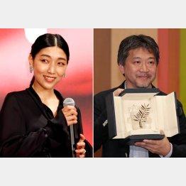 安藤サクラ(左)と是枝裕和監督(C)日刊ゲンダイ