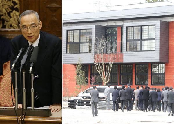 表でも裏でも奔走した太田理財局長(左)と17年4月開校予定だった校舎/(C)日刊ゲンダイ