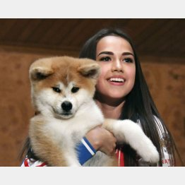 ザギトワ選手に抱かれた秋田犬のマサル(C)共同通信社