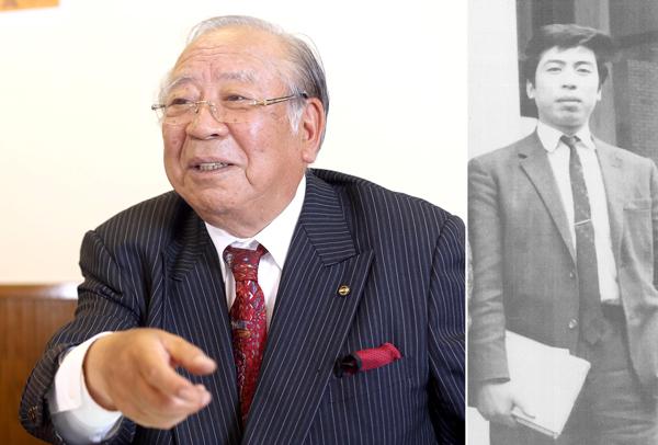 写真左=大学4年時の近藤社長(提供写真)