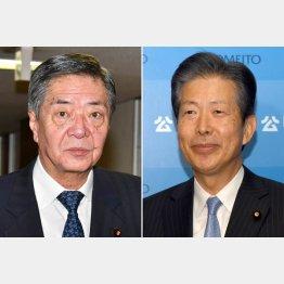 自民党竹下亘総務会長(左)と公明党山口那津男代表(C)日刊ゲンダイ