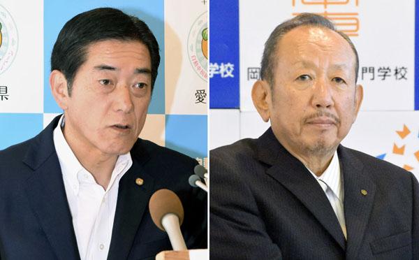 中村時広愛媛県知事と加計孝太郎理事長(C)共同通信社