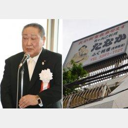田中理事長(左)の妻が経営するちゃんこ屋(右)/(C)日刊ゲンダイ