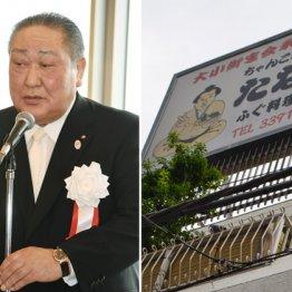田中理事長(左)の妻が経営するちゃんこ屋(右)