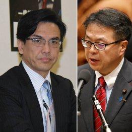 詐欺を認めている斉藤被告(左)と回収に積極的ではない世耕経産相