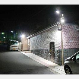 真夜中でも防犯灯が煌々と光っている(C)日刊ゲンダイ