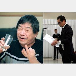 赤塚不二夫さん(左)と弔事を読むタモリ(C)共同通信社