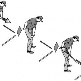 ダウンスイングでヘッドが動く方向と手元が動く方向は一致しない