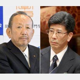 加計理事長(左)と佐川前長官(C)日刊ゲンダイ
