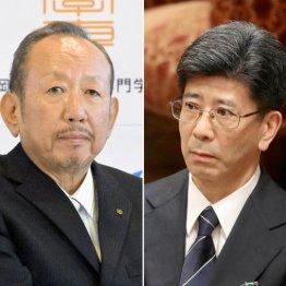 加計理事長(左)と佐川前長官