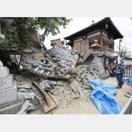 地震で崩れた妙徳寺の山門(C)共同通信社