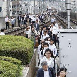 停止した電車から降りて線路を歩く人々