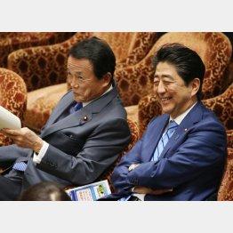 麻生財務相(左)と安倍首相(C)日刊ゲンダイ