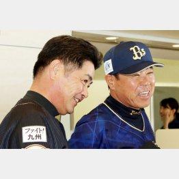 24日の試合前に談笑する工藤監督と福良監督(C)日刊ゲンダイ