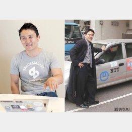 NTT東日本時代の重松氏(右)(C)日刊ゲンダイ