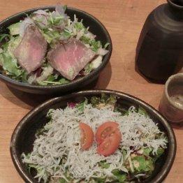 【シラスとローストビーフのサラダ】自家製ドレッシング2種類の贅沢