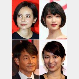左上から時計回りでベッキー、剛力彩芽、内山理名、吉田栄作(C)日刊ゲンダイ
