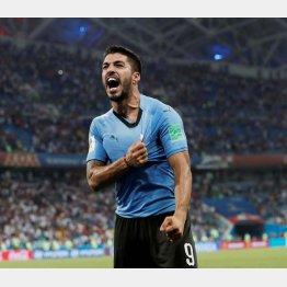 ポルトガルに勝利し喜ぶスアレス(C)ロイター