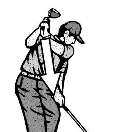 右肩をトップの位置に置くつもりで手を真下に振り下ろす