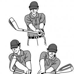 右肩を残しシャフトの回転でフェースを返すと引っかけミスが減る