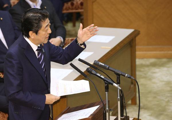 党首討論での安倍首相(C)日刊ゲンダイ
