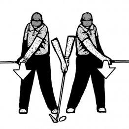 「右腰で左手甲とフェースは正面を向く」