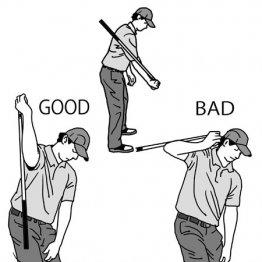 トップで右ひじを真下に向ける意識を持つとシャフトクロスを矯正できる