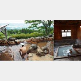 白鳥温泉上湯の露天風呂(左)と栗野岳温泉・南洲館の桜湯(写真提供=飯出敏夫氏)
